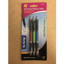 Le Grip Retractable Ball Pens, 1.0mm tip - Blue Ink ~ 3/per pack