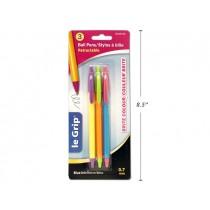 """Selectum """"Brites"""" Retractable Ball Pens - BlueInk ~ 3 per pack"""