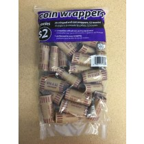 Paper Coin Wrappers - 2 Dollar ~ 36 per bag