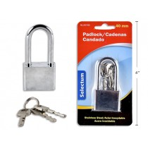 Stainless Steel Padlock with 40mm Long Shackle + 3 Keys