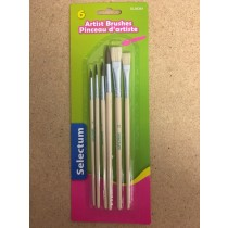 Selectum Artist Brushes with Wooden Handle ~ 6 per pack