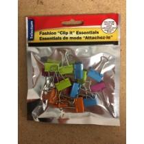 Brite Fashion Colored Foldback Clips ~ 19mm x 15 pieces per pack