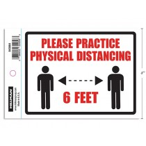 """Physical Distancing Adhesive Decal Sign - 4"""" x 6"""" ~ English"""