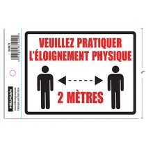 """Physical Distancing Adhesive Decal Sign - 4"""" x 6"""" ~ French"""