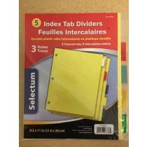 Selectum Colored Plastic Index Tab Dividers ~ 5 per pack