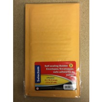 "Kraft Bubble Envelopes 6"" x 10.5"" - Peel N Seal ~ 3 per pack"
