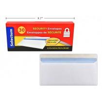 Selectum White Envelopes #10 w/SECURITY lining - Peel N Seal ~ 30 per box