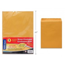 """Brown Peel-N-Seel Envelopes - 9"""" x 12"""" ~ 5 per pack"""