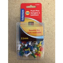 Selectum Assorted Color Push Pins ~ 100 per pack