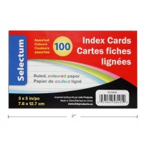 """Selectum Index Cards 3"""" x 5"""" - Ruled - Colored ~ 100 per pack"""