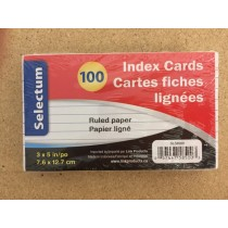 Selectum Index Cards - Ruled - White ~ 100 per pack