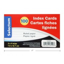 "Selectum Index Cards 3"" x 5"" - Ruled - White ~ 100 per pack"