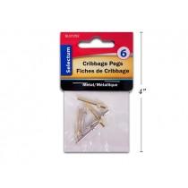 Selectum Metal Cribbage Pegs ~ 6 per pack