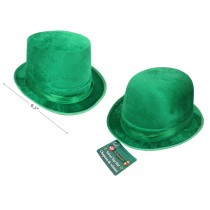 St. Patrick's Day Velvet Derby Style Top Hat with Satin Band