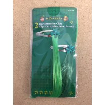 St. Patrick's Day Shamrock Jewel Hair Clip with Green Hair Extension ~ 2 per pack