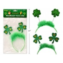 "St. Patrick's Day Headband with Fur & Shamrocks ~ 8"""