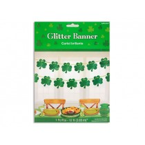 St. Patrick's Day 12' Glitter Shamrock Banner with 13 Cutout Shamrocks