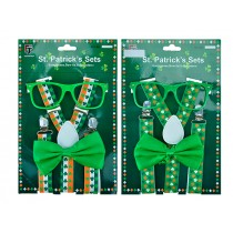 St. Patrick's Day Suspenders, Bow Tie & Glasses Set
