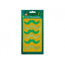 St. Patrick's Day Glitter Adhesive Moustaches ~ 6 per pack