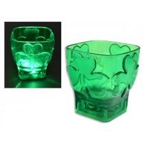 """St. Patrick's Day LED Light-Up Shamrock Shot Glass - 2"""" x 2-1/8"""""""
