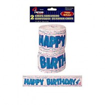 "Crepe Paper Streamers - ""Happy Birthday"" ~ 2 per pack"