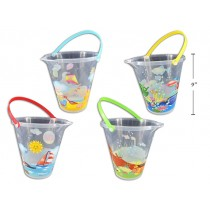 "Sea Life Printed Beach Bucket with Spout & Shovel ~ 9.25"" x 9"""