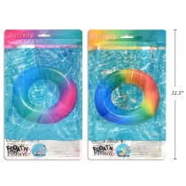 "36"" Rainbow Colored Inflatable Swim Ring with Handles"