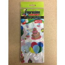 Tissue Paper - BALLOONS & CAKES ~ 4 per pack