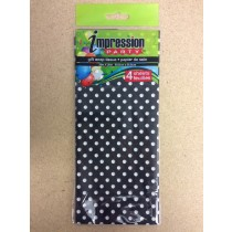 Tissue Paper - BLACK w/WHITE POLKA DOTS ~ 4 per pack
