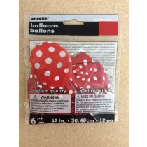 "12"" Round Balloons - Red w/Dots ~ 6 per pack"