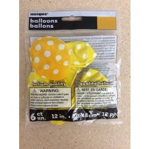 "12"" Round Balloons - Yellow w/Dots ~ 6 per pack"