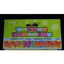 "Foil Banner - 12' ~ ""Happy 30th Birthday"""