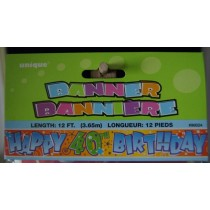 "Foil Banner - 12' ~ ""Happy 40th Birthday"""