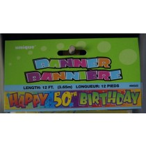 "Foil Banner - 12' ~ ""Happy 50th Birthday"""