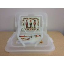 Christmas Plastic Cookie Container with Lid and Carrying Handles