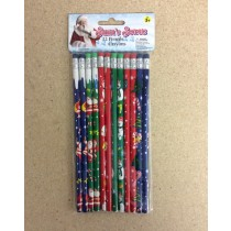 Christmas Pencils w/Erasers ~ 10/pk