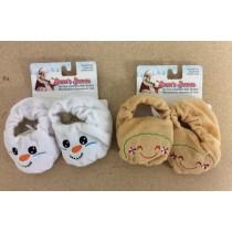 Baby's Christmas Velveteen Booties ~ 2 asst