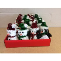 """6"""" Christmas Tinsel Tree Ornaments ~ 4 assorted"""