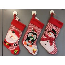 "21.5"" Christmas Stocking w/Embroidery ~ 3 asst"
