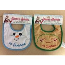 Baby's 1st Christmas Velveteen Bibs ~ 2 asst