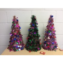 Christmas Multi-Colored Tinsel Tree ~ 18""