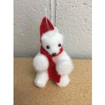 "Christmas Tree Flocked Sitting Polar Bear w/Red Scarf Ornament ~ 4.25"""