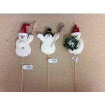 "5.5"" Snowman on 8"" Wooden Pick ~ 3 assorted"