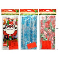 """Christmas Cello Candy Bags ~ 11""""x5""""x3"""" ~ 20 per pack"""