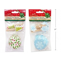 """Christmas Baking Cups with Picks - 2""""D ~ 24 per pack"""