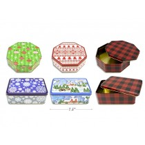 Christmas Cookie Tins - Large ~ 2 Assorted Shapes + 3 Asssorted Prints