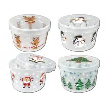 Christmas Printed Frosted Cookie Storage Container ~ 8""