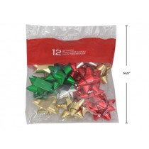 "Christmas Metallic Star Bows - 3"" ~ 12 per pack"