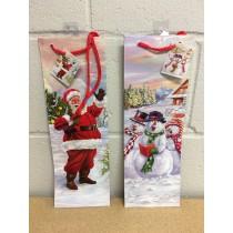Bottle Christmas Gift Bag ~ Glossy Santa / Snowman