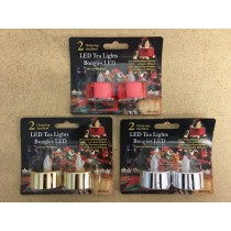 Christmas Metallic Flickering LED Tealight Candles ~ 2/pk